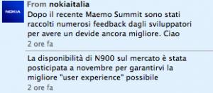 Tweet di Nokia Italia