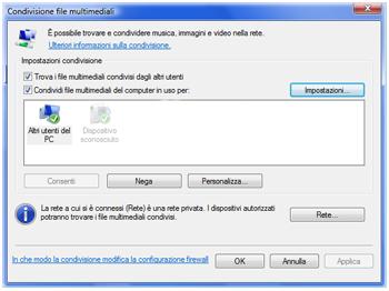 Windows Media Player 11, condivisione