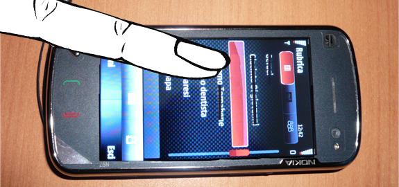 Nokia N97, scrolling cinetico