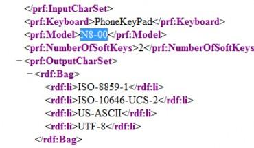 Nokia N8-00, svelato il file XML