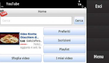 Client Youtube per Symbian S60