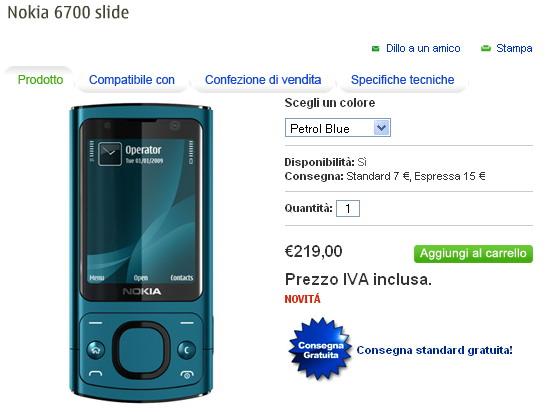 Nokia 6700 slide su Nokia Online Shop