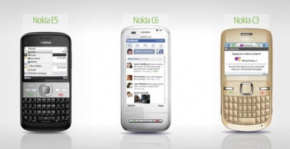 Nokia E5, C3 e C6
