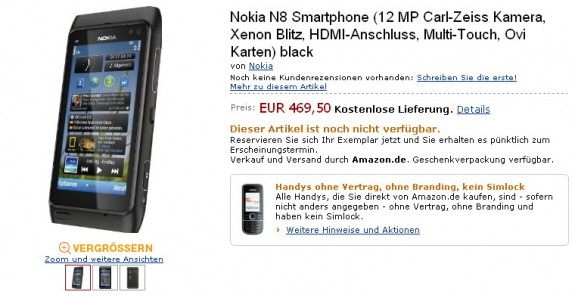 Nokia N8 in preordine su Amazon.de