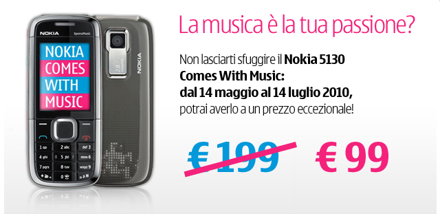Offerta Nokia on Line shop: Nokia 5130 CWM a 99€