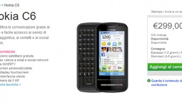 Il Nokia C6 disponibile sul Nokia Online Shop
