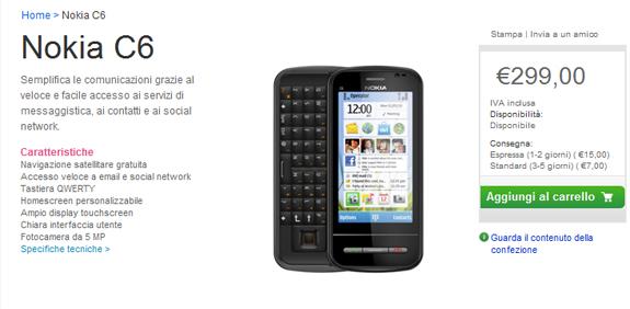 Il Nokia C6 disponibile sul Nokia Online Shop