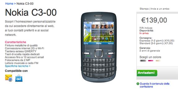 Il Nokia C3 disponibile sul Nokia Online Shop