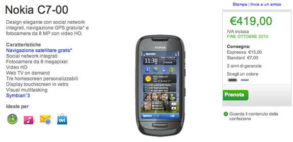 Il Nokia C7 sul Nokia Online Shop