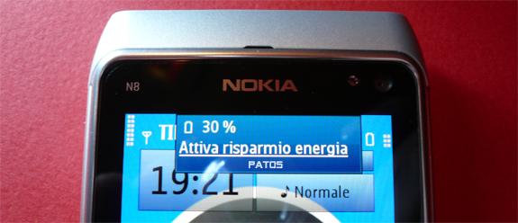 Nokia N8, attiva risparmio energia