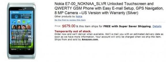 Nokia E7 su amazon.com