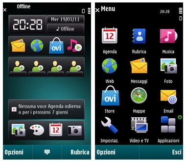 Nokia C6-00 Homescreen e Menu
