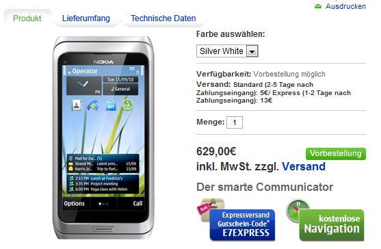 Nokia E7-00 su Nokia Online Shop tedesco