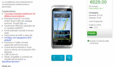 Nokia E7 su Nokia Online Shop