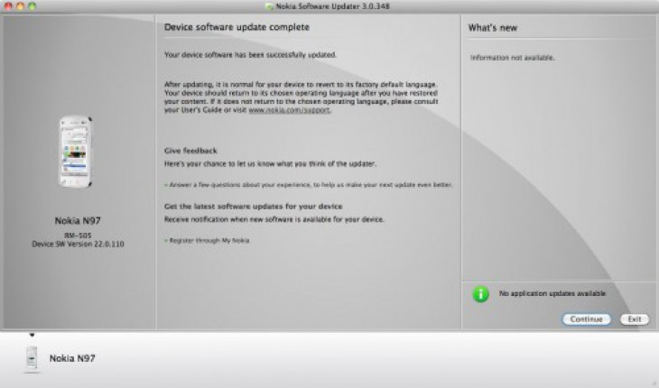 Nokia Software Updater per Mac
