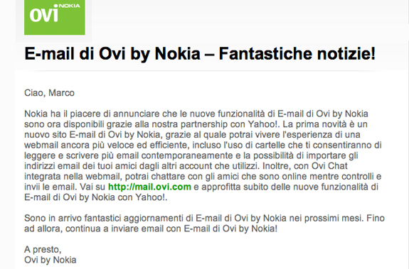 Completata la migrazione ad Ovi Mail powered by Yahoo