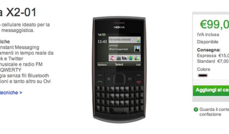 Nokia X2-01 disponibile su Nokia Online Shop