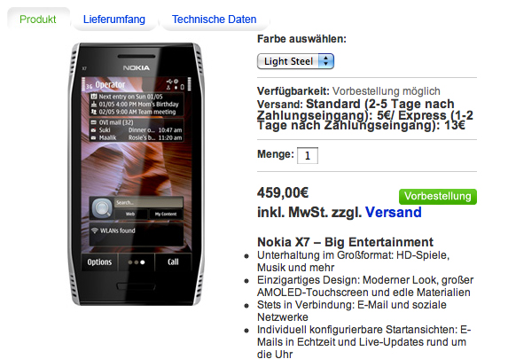 Nokia X7-00 su Nokia Online Shop tedesco