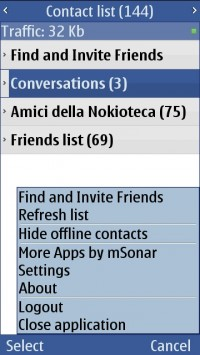Facebook chat per Symbian