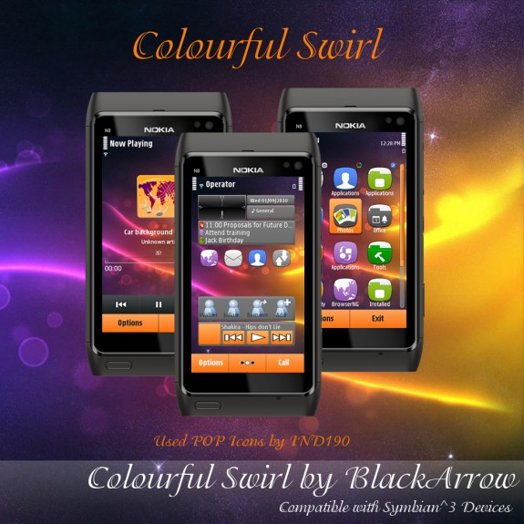 Colorfull swırl by black arrow