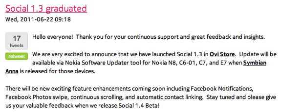 In arrivo una nuova versione Social per Symbian^3