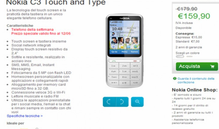 Nokia C3-01 in offerta su Nokia Online Shop