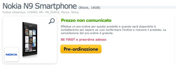Nokia N9 in preordine su eXpansys