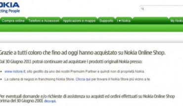Nokia Shop on-line chiuso