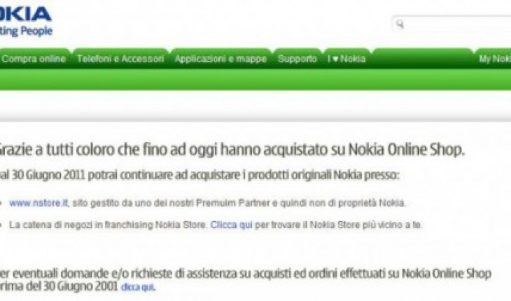 Nokia Shop on-line chiuso