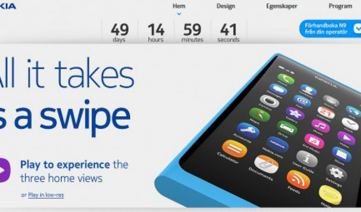 Nokia N9 countdown su swipe.nokia.se
