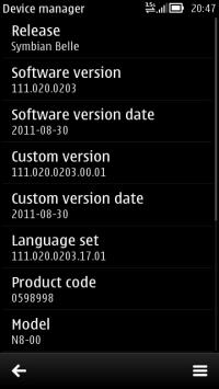 Symbian Belle v111.020.0203