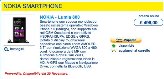 Nokia Lumia 800 disponibile per il preordine su Euronics