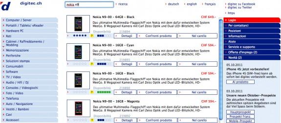 Nokia N9 su Digitec