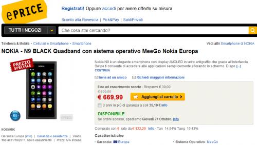 Nokia N9 su eprice