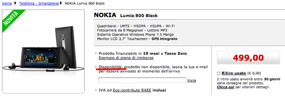 Nokia Lumia 800 disponibile sullo store online di Mediaworld