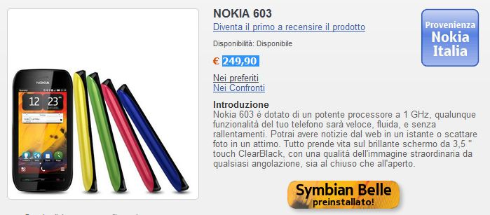 Nokia 603 disponibile all 39 acquisto a 249 90 euro for Acquisto led online