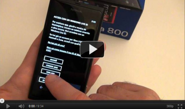 Nokia Lumia 800 Prima Accensione