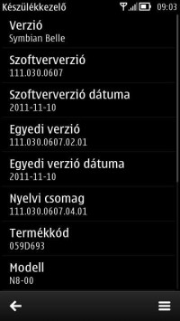 Build v111.030.0607 di Symbian Belle