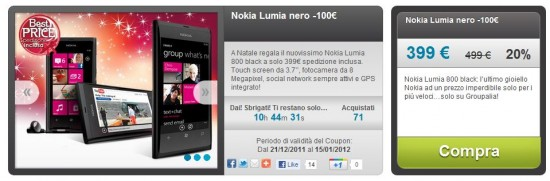 Nokia Lumia 800 in offerta su Groupalia