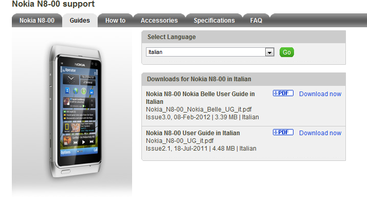 disponibile il manuale utente in italiano del nokia n8 con nokia rh nokioteca net Nokia 3 Nokia 5