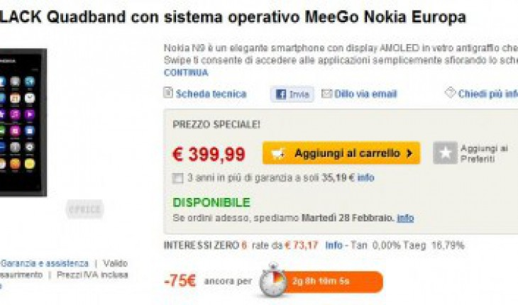 Nokia N9 in offerta su eprice.it