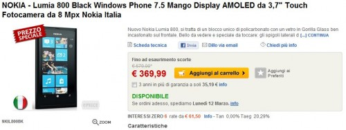 Nokia Lumia 800 su eprice.it