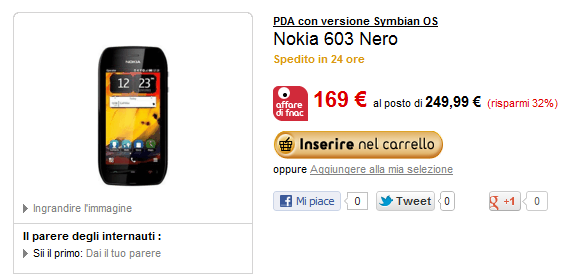 Il Nokia 603 in offerta da fnac