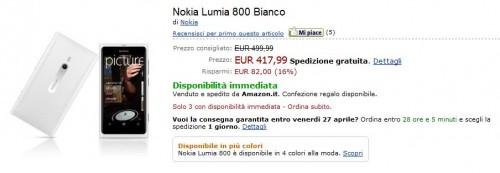 Nokia Lumia 800 White su Amazon.it