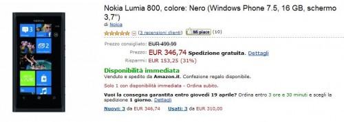Nokia Lumia 800 su Amazon