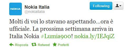 Nokia Italia Tweet
