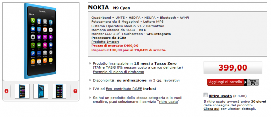 Nokia N9 in offerta su Mediaworld.it