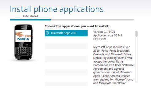Microsoft Apps per Nokia E6