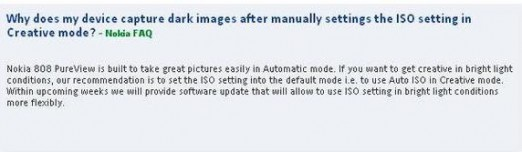 Nokia 808 problema ISO
