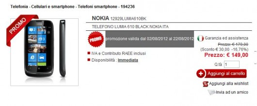 Nokia Lumia 610 in offerta